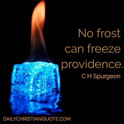 No frost can freeze providence. Charles Haddon Spurgeon
